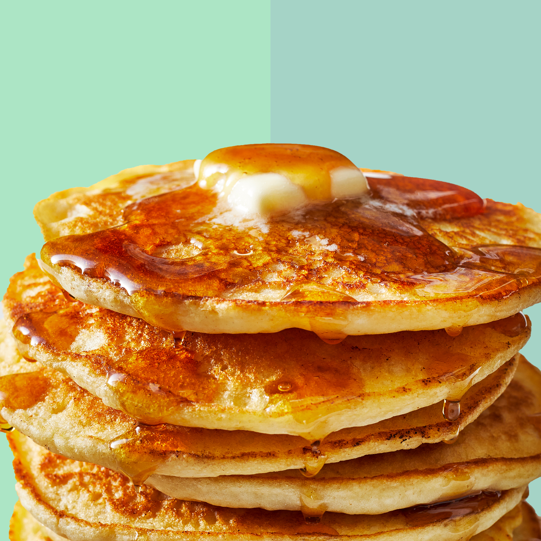Best Pancake Mix: stack of pancakes with syrup