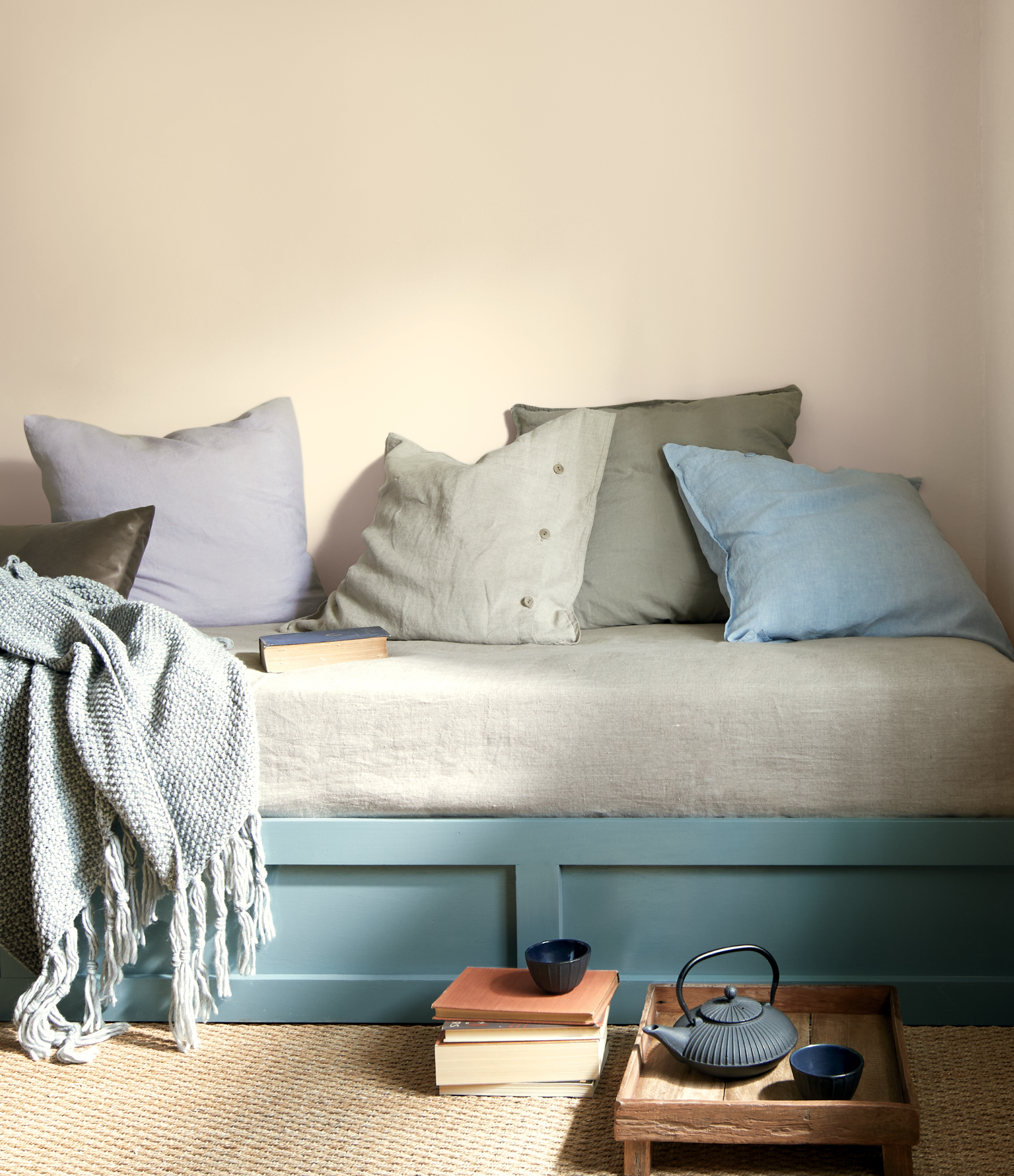 Benjamin Moore Aagean Teal Painted on Bench with cushion and pillows