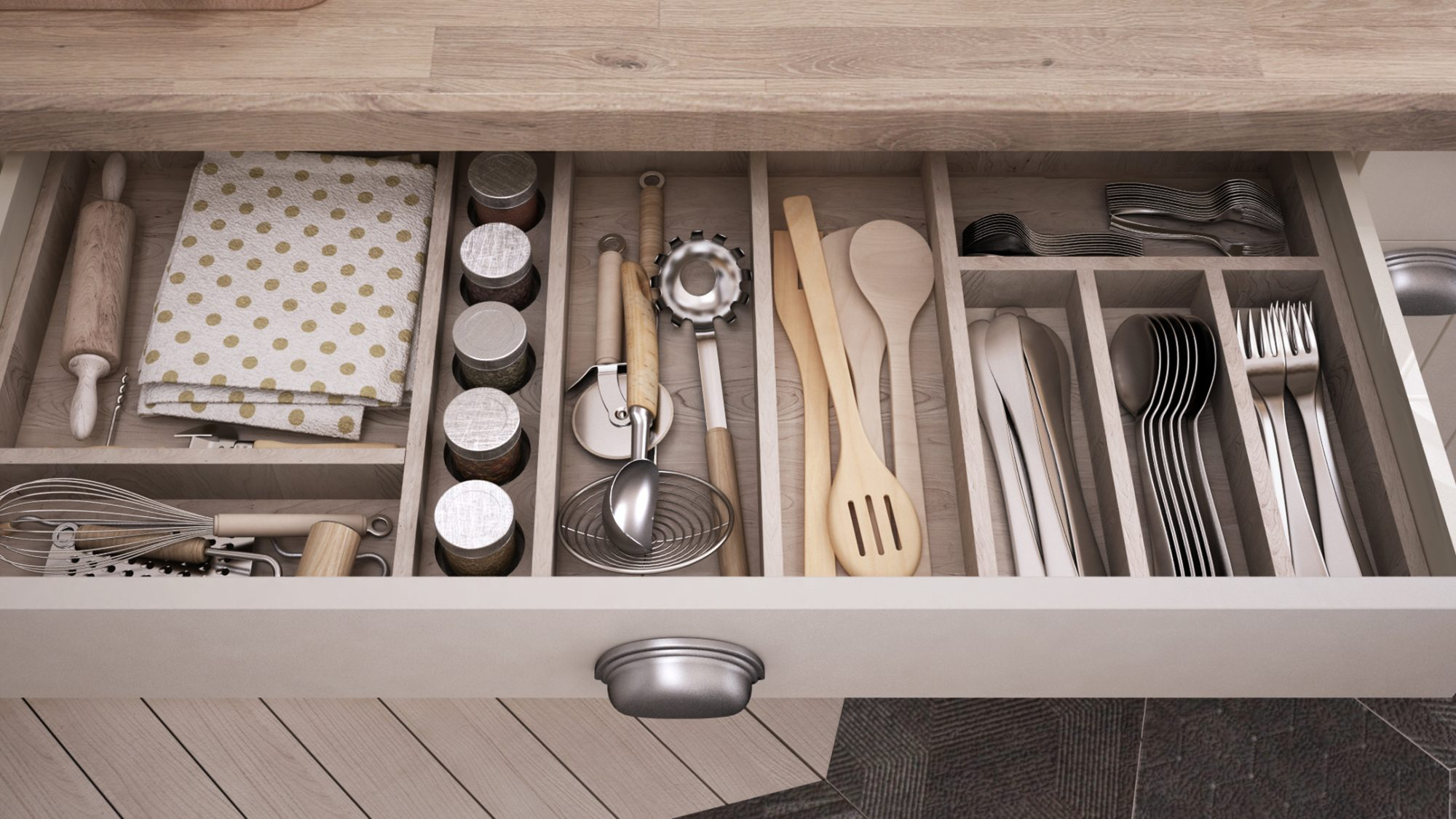 Stress organize a kitchen utensil drawer