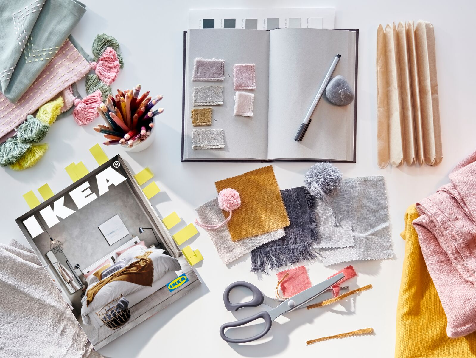 IKEA Catalog 2021 with notebook and fabric