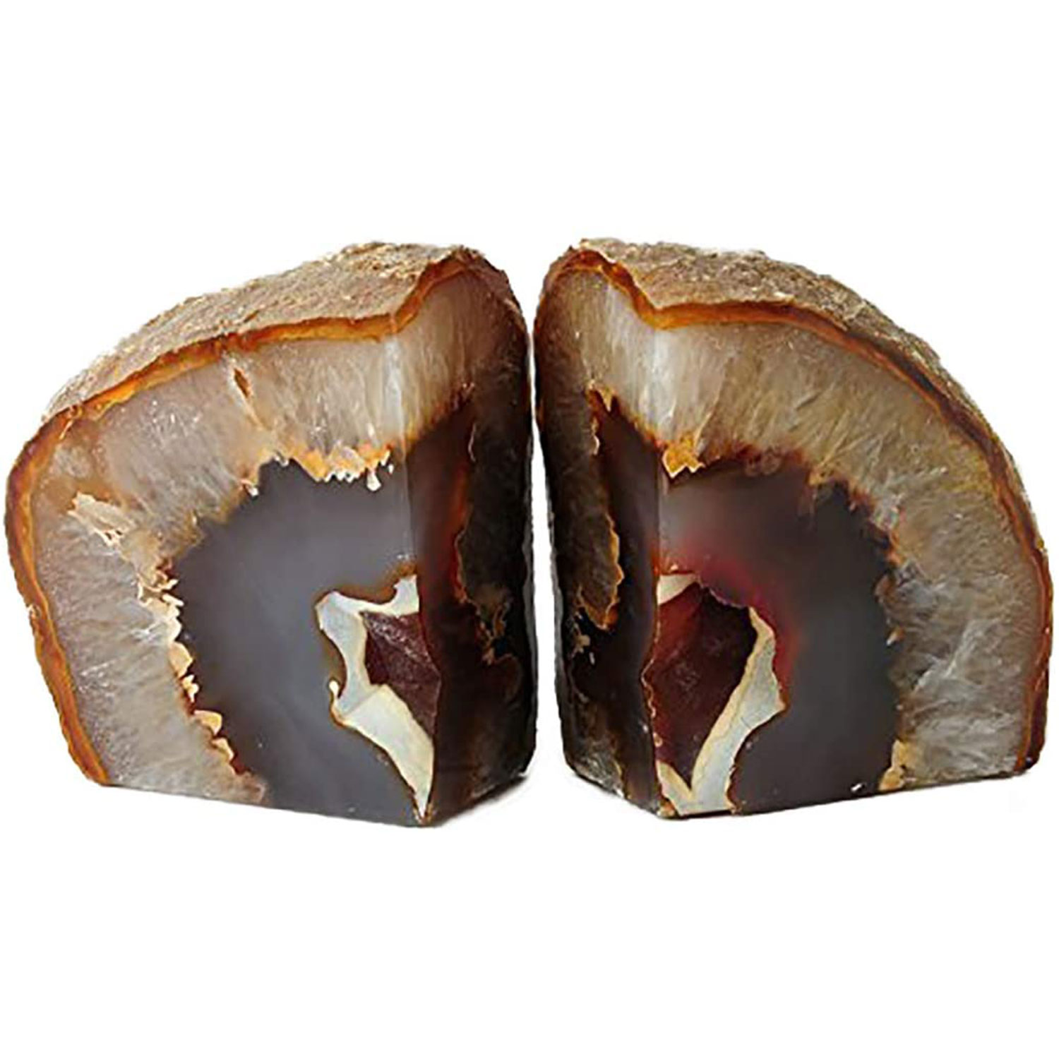 gem natural agate bookends office decor