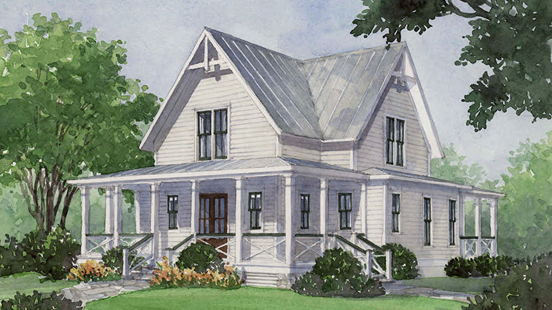 Southern Living House Plan, Four Gables watercolor of house