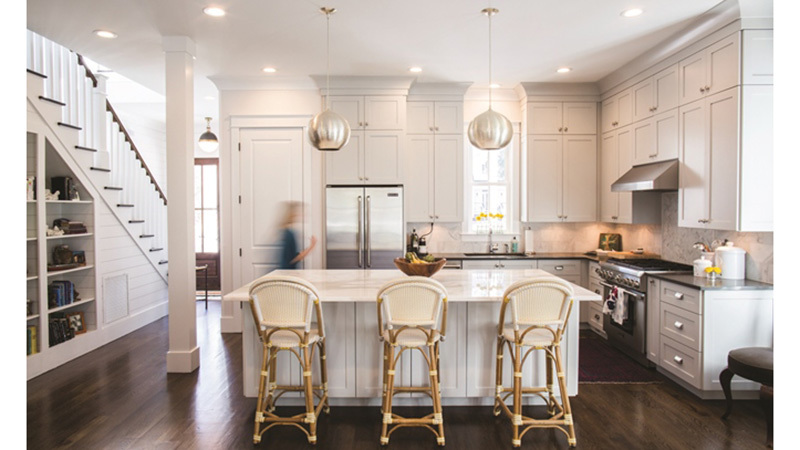 Southern Living House Plan, Four Gables White Kitchen with island