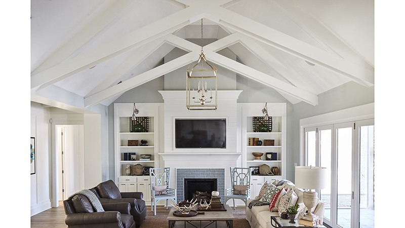 Southern Living House Plan, Living Room with shelves and tv