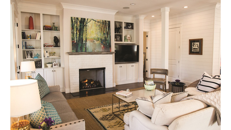 Southern Living House Plans, Living Room with fireplace