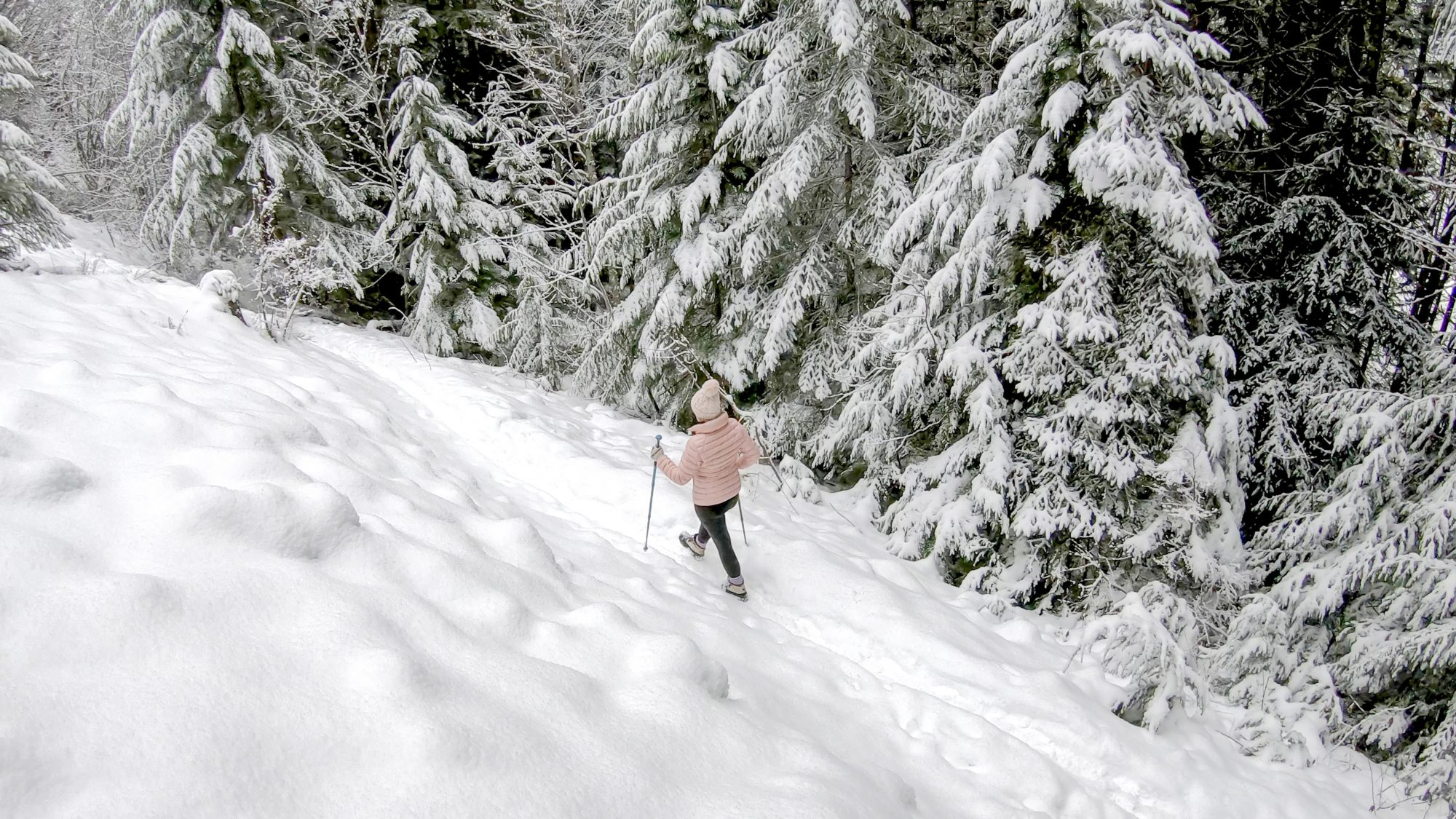 Winter activities, things to do in winter during a pandemic - person snowshoeing