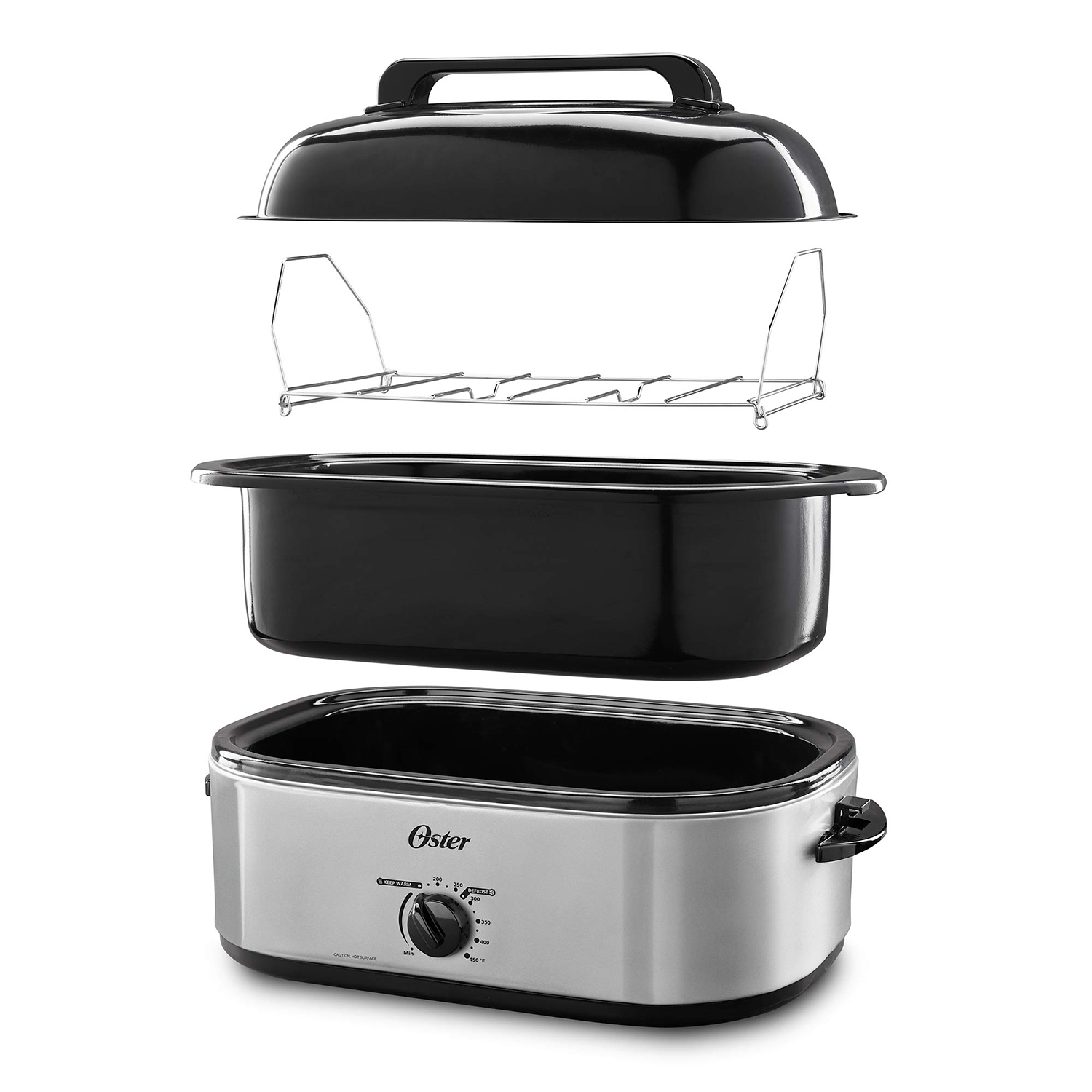 Oster 18 Quart Silver Roaster with High Dome & Self-Basting Lid
