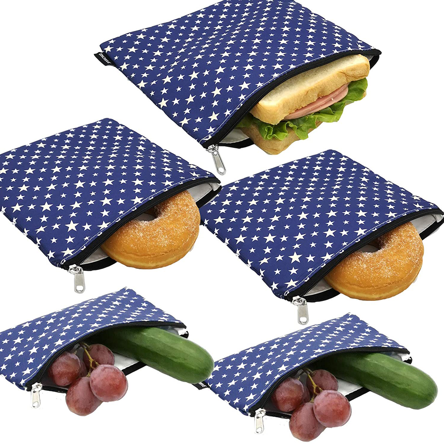 Reusable Snack Bags Sandwich Bags - Dual Layer Eco Friendly Dishwasher Safe Lunch Baggies