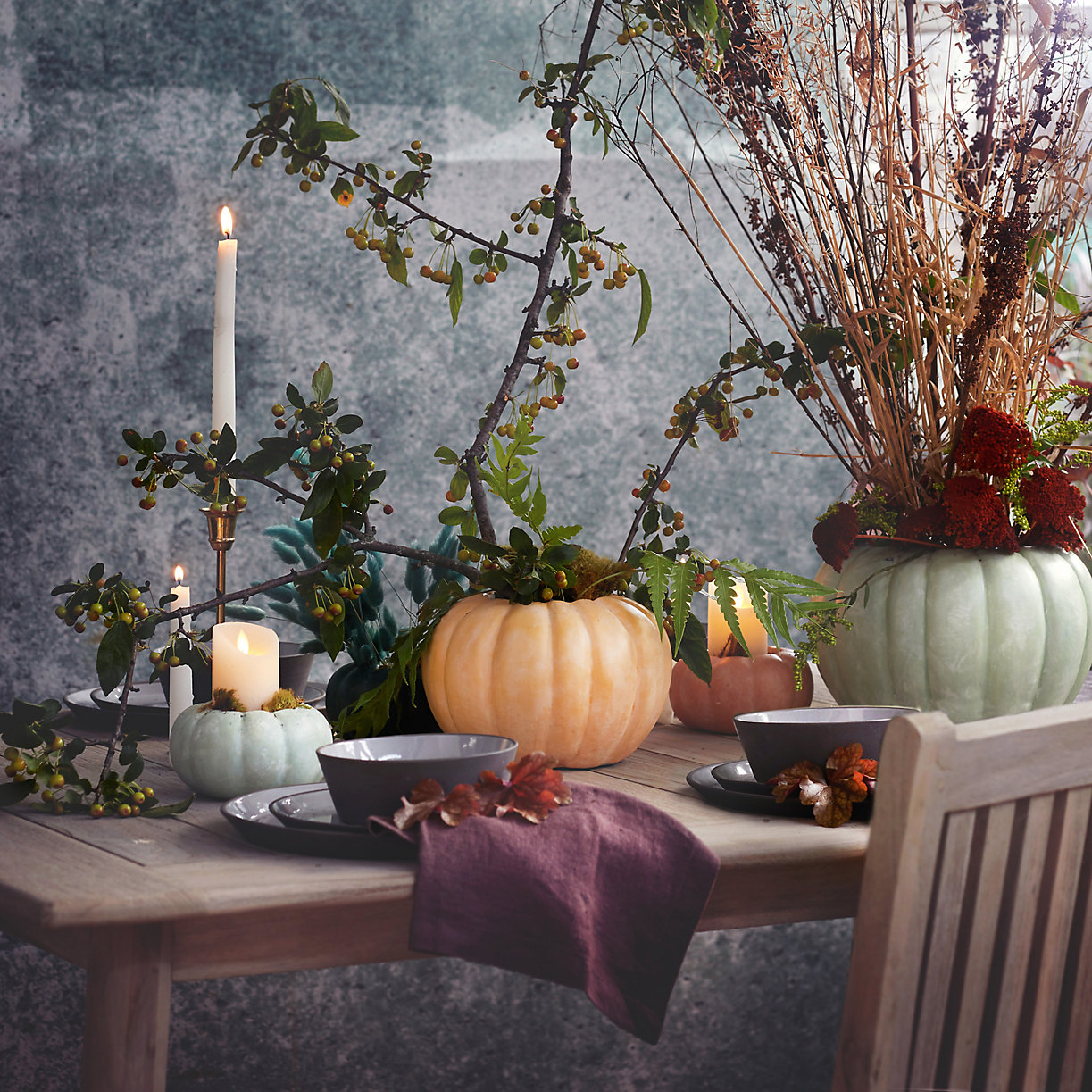 Thanksgiving Table Setting Pumpkin Vase with flowers