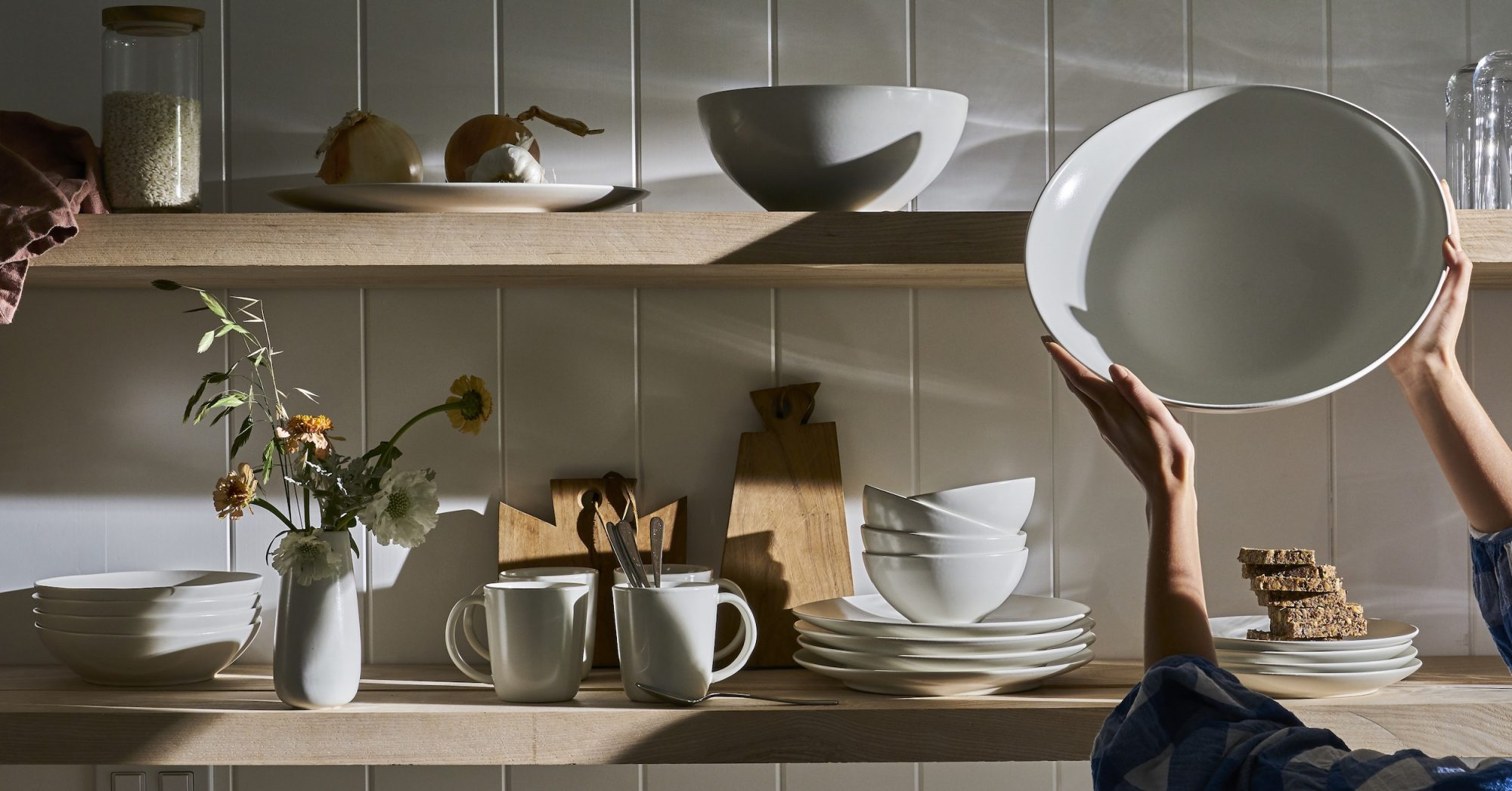 White Dinnerware Year and Day, plates and bowls on open shelving