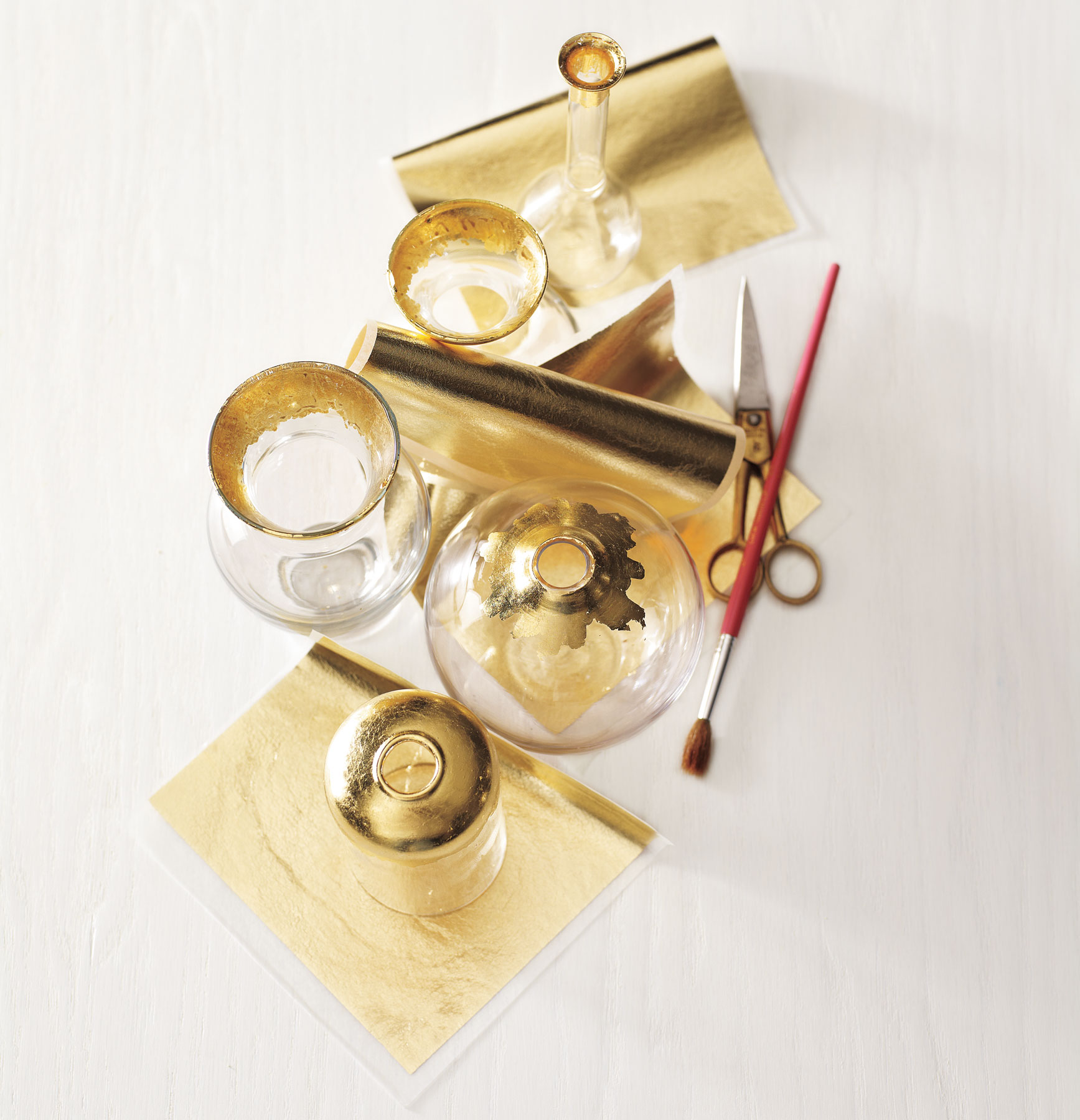 DIY Christmas gifts, homemade holiday present ideas - Gold-Leaf Bud-Vase Trio