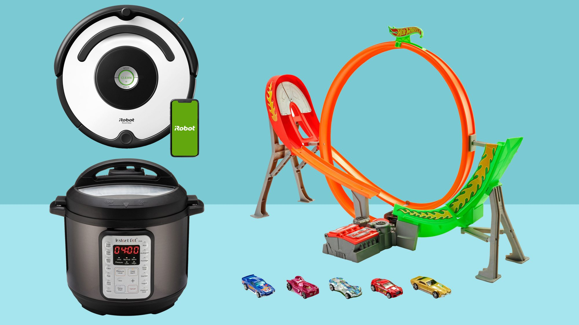 instant pot, hot wheels powershift raceway track, irobot roomba