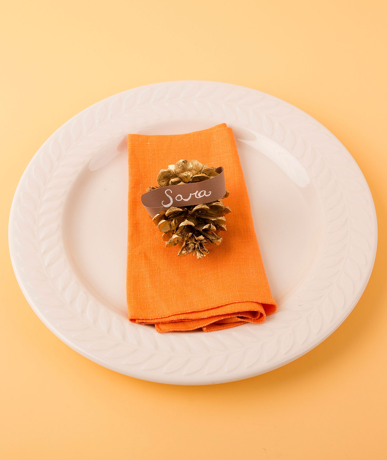 Thanksgiving crafts, ideas - Gold Pinecone Place Card Holder