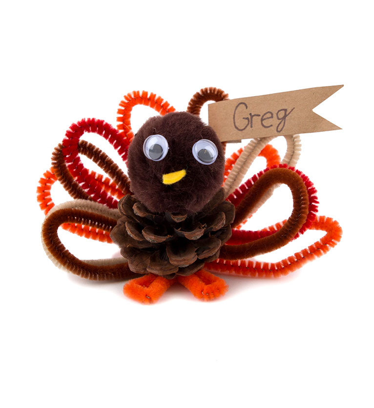 Thanksgiving crafts, ideas - Pipe Cleaner Turkey Place Card Holder
