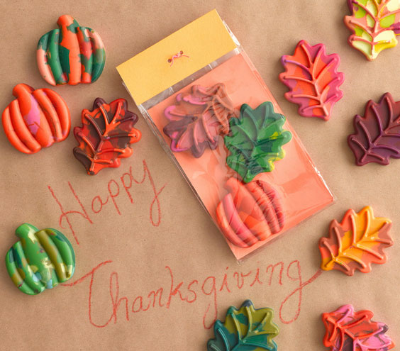 Thanksgiving crafts, ideas - Leaf-Shaped Crayons