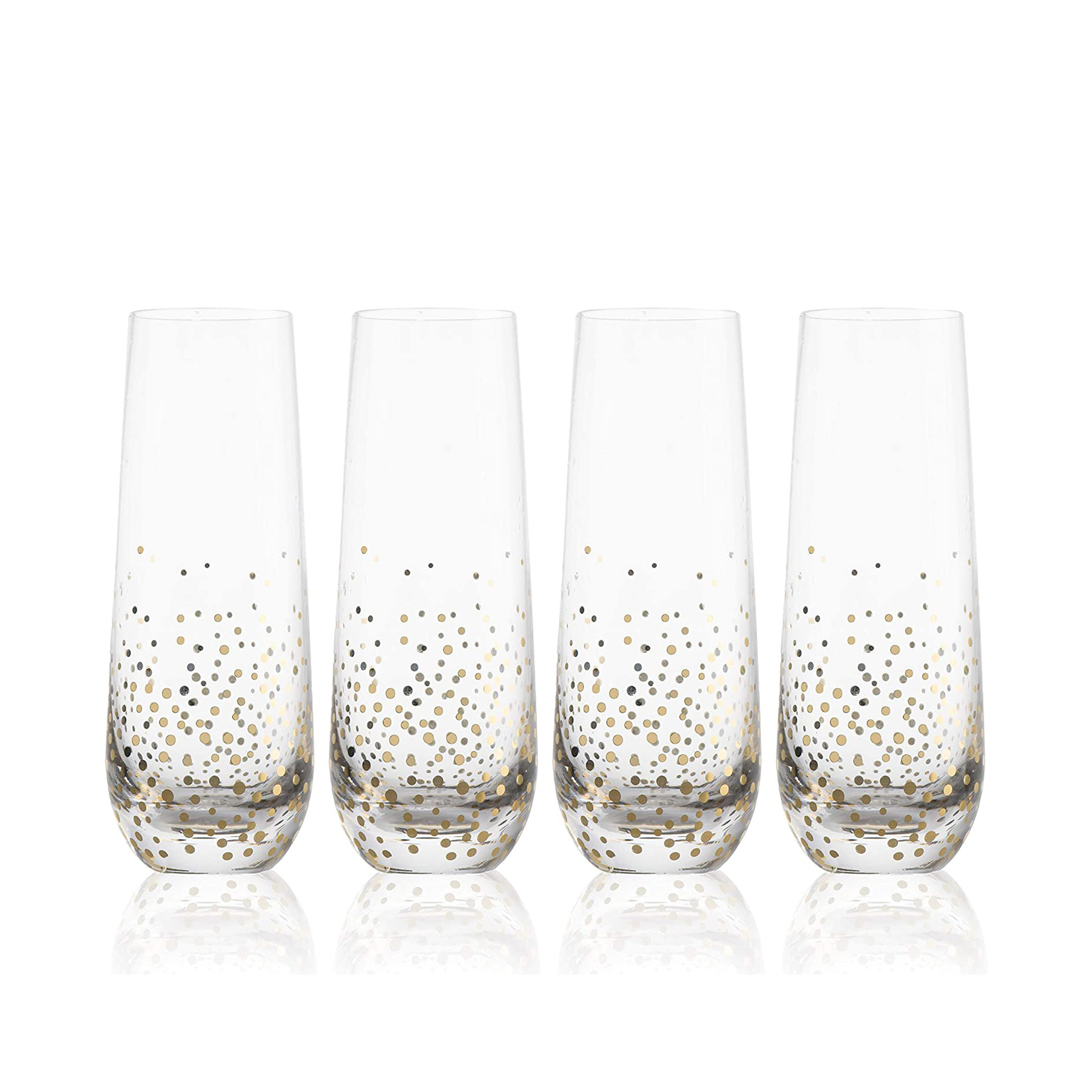 Engagement Gift Ideas: Gold Flecked Stemless Champagne Flutes