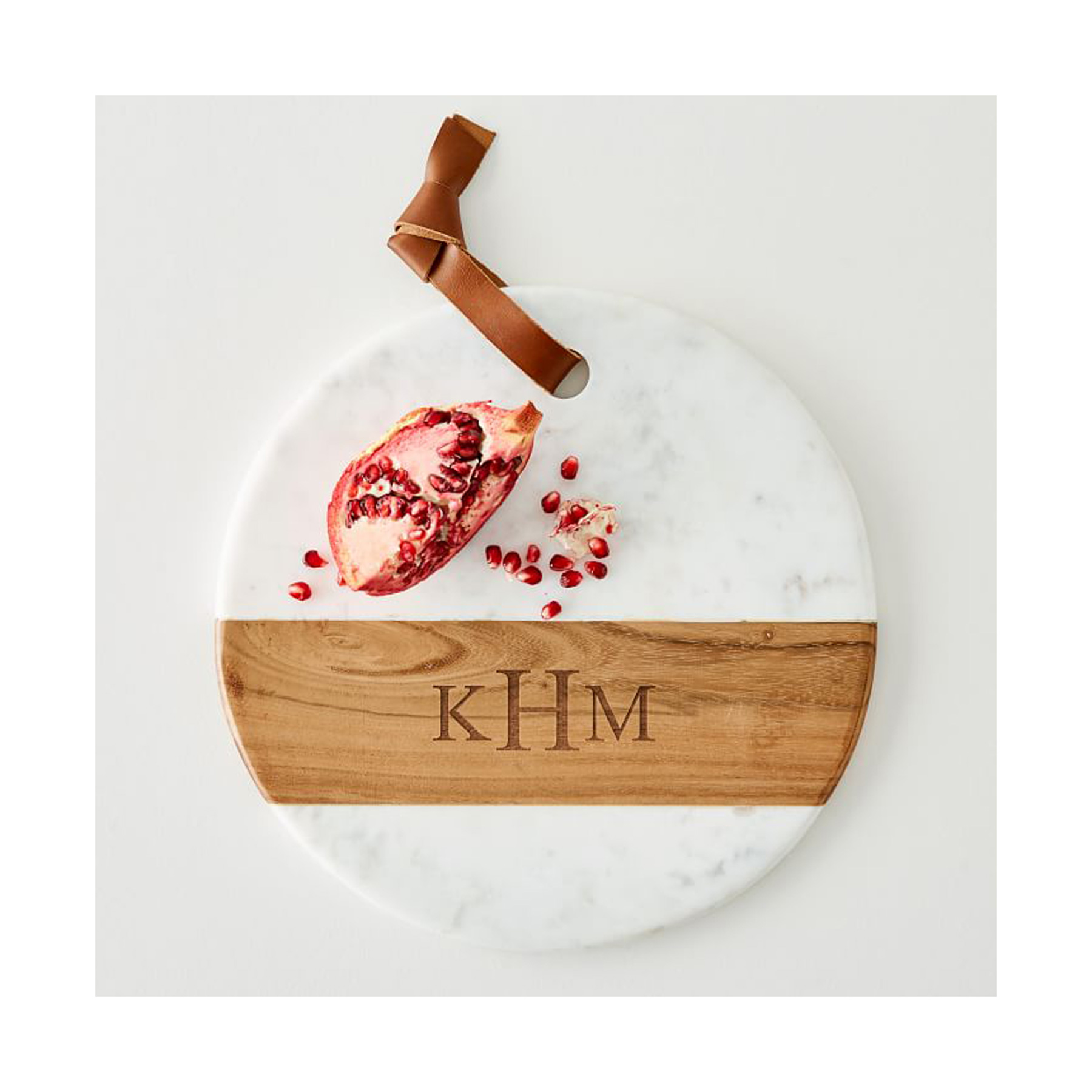 Engagement Gift Ideas: wood and marble monogrammed cheese board