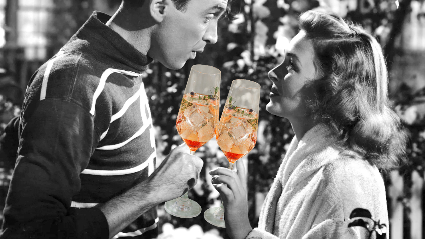 holiday-cocktails-for-holiday-movies: It's a Wonderful Life stars toasting with cocktails