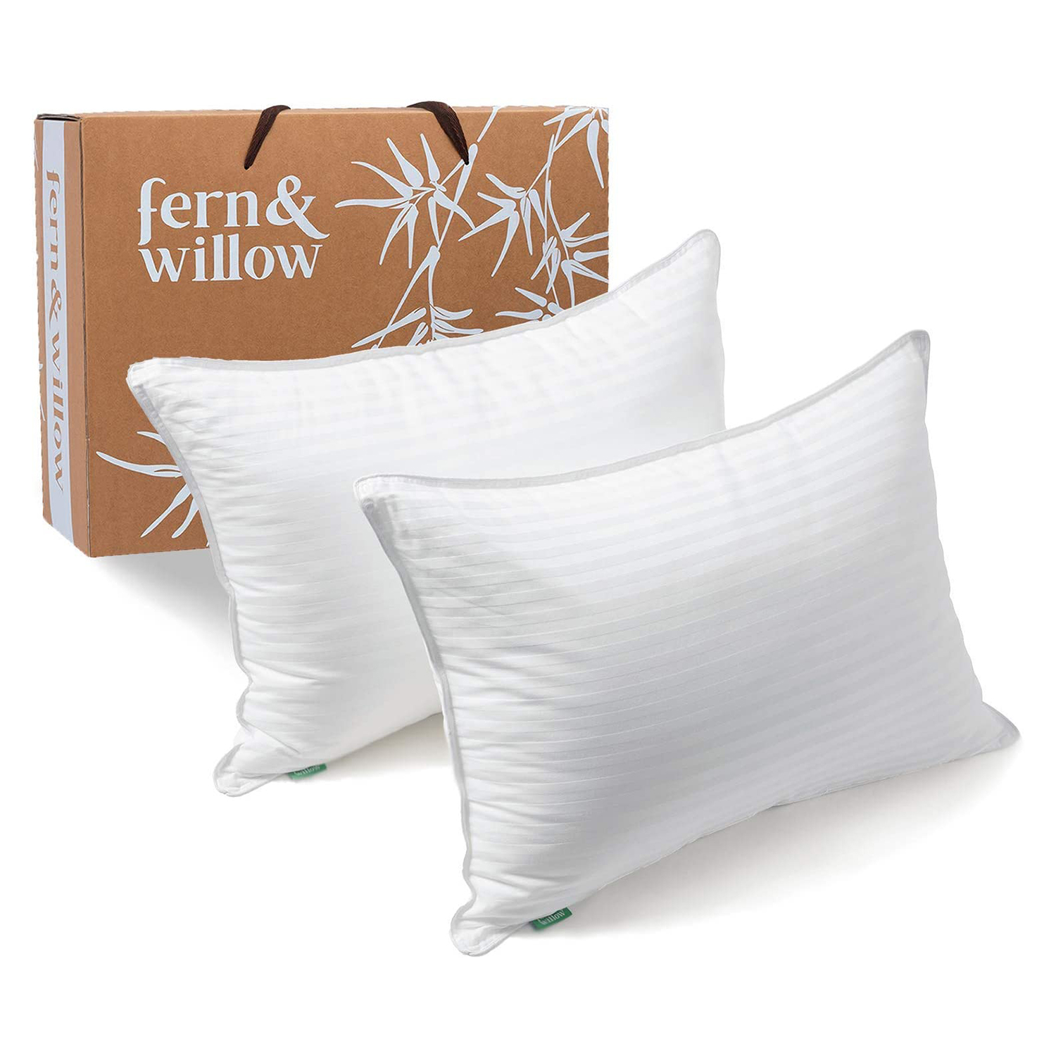 Fern and Willow Pillows for Sleeping Queen Size, 2 Pack