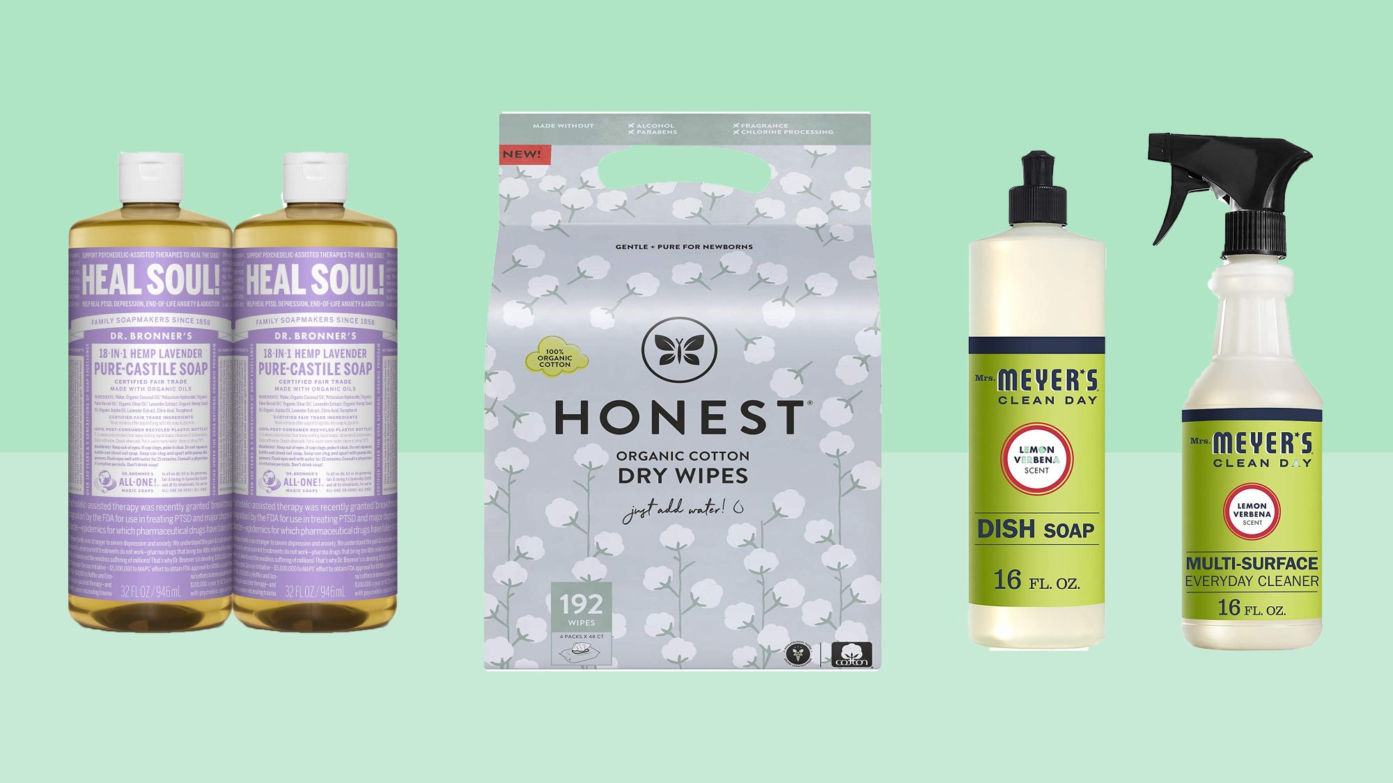 mrs. meyers, dr. bronners, honest wipes