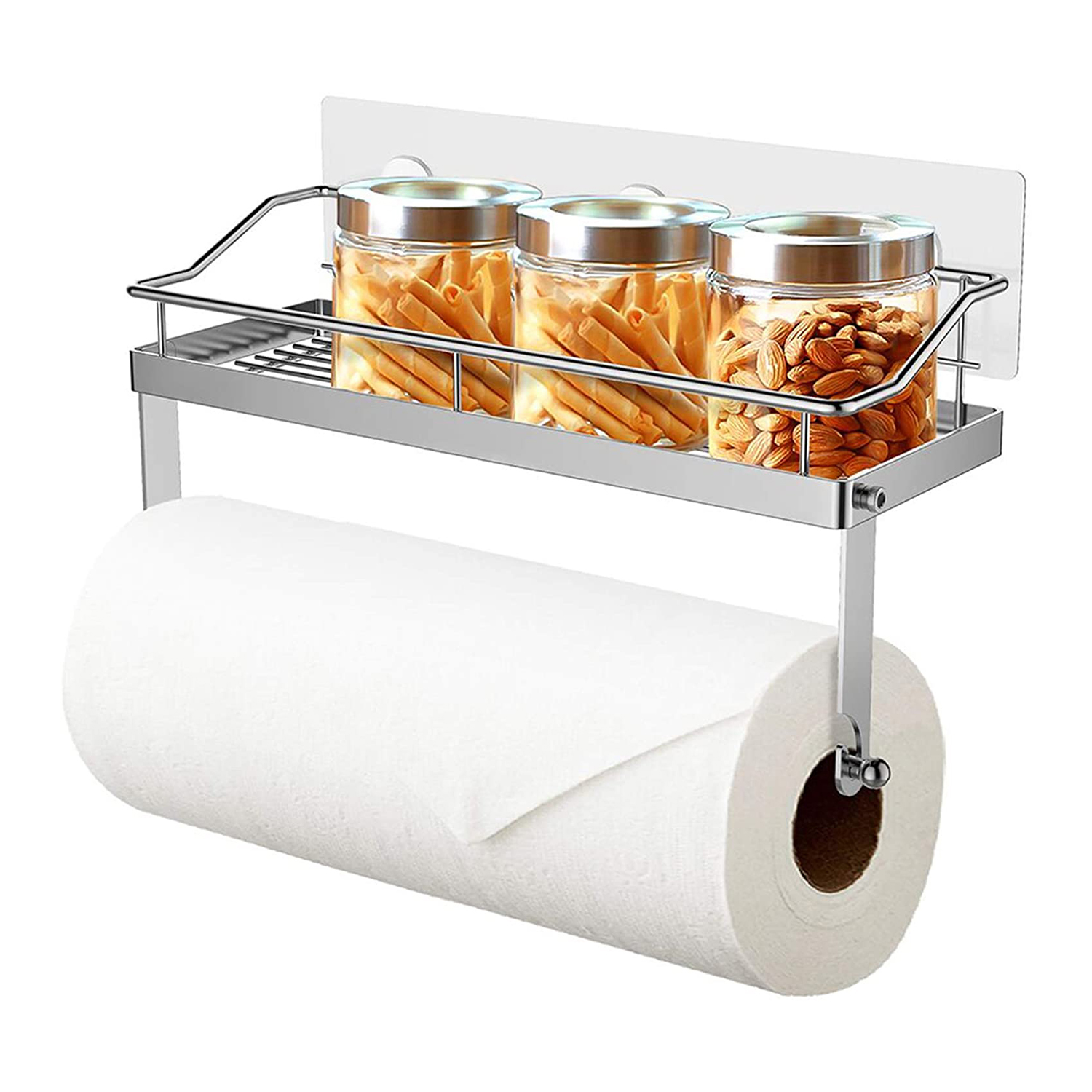 ODesign Paper Towel Holder with Shelf Adhesive Wall Mount 2-in-1 for Kitchen Shower Bathroom Organizer
