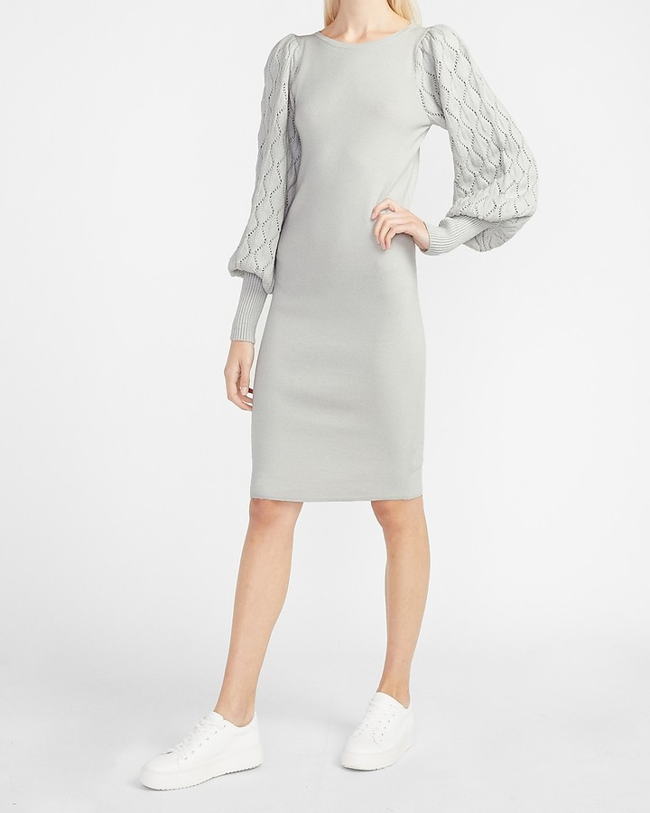 express-cable-balloon-sleeve-sweater-dress