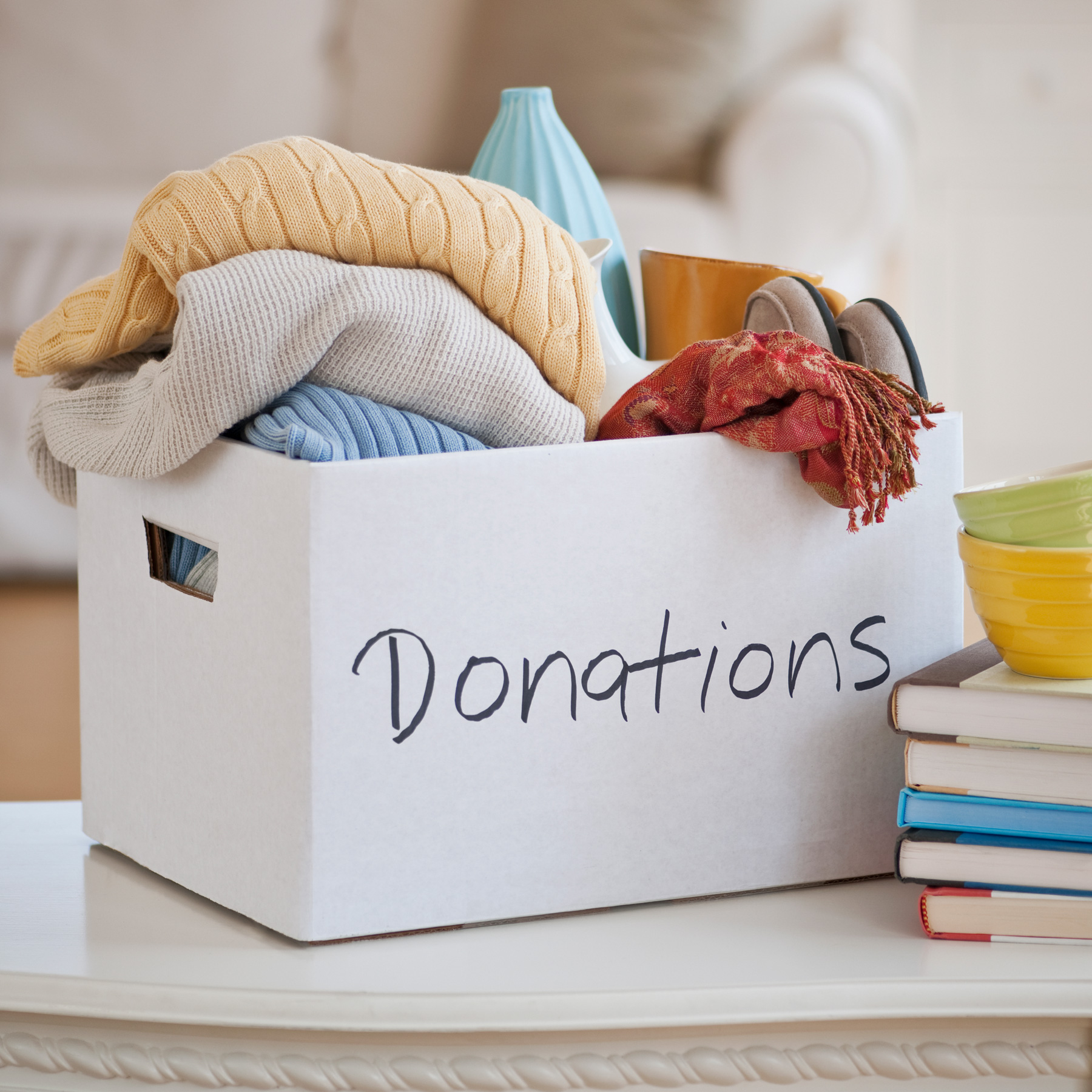 10 Ways to Make Your Home Greener: box of clothing donations
