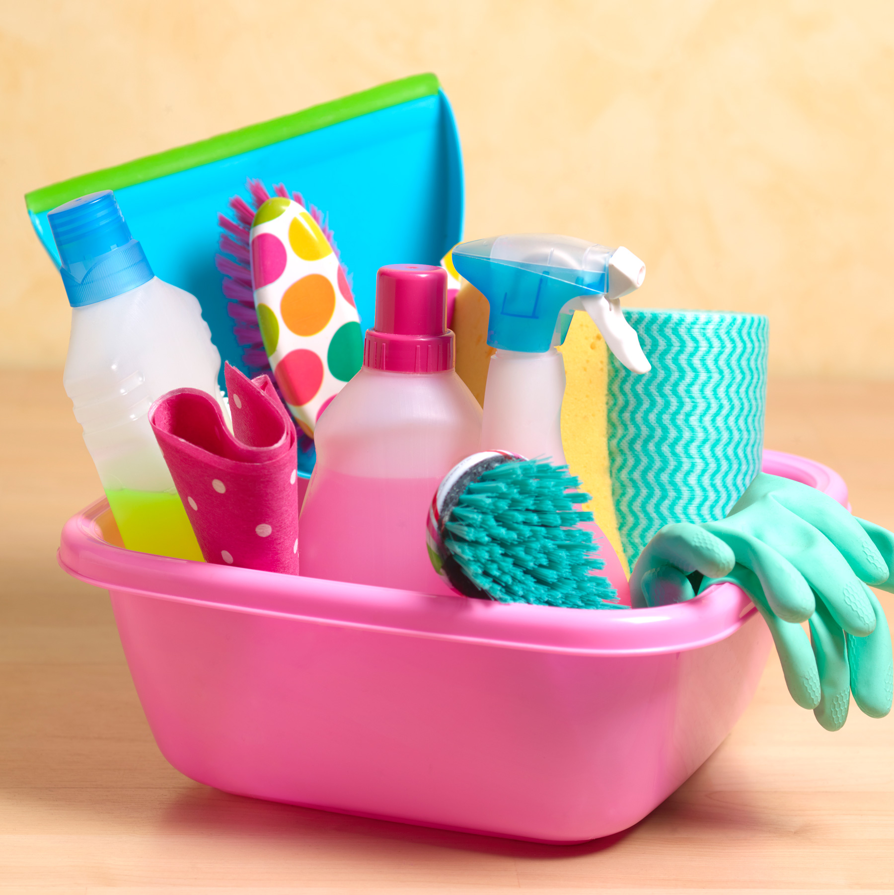 10 Ways to Make Your Home Greener: colorful generic cleaning products