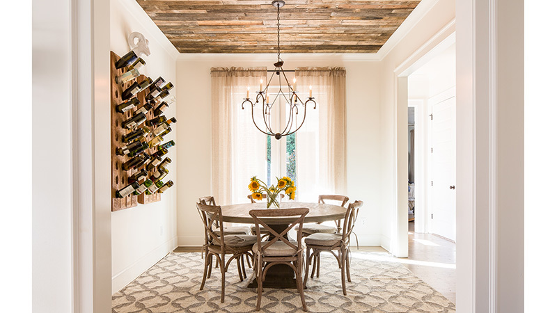Southern Living House Plan 1 Dining Room with wine rack on wall