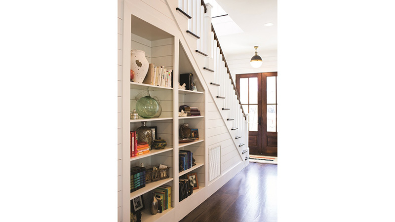 Southern Living House Plan 2, shelves under stairs