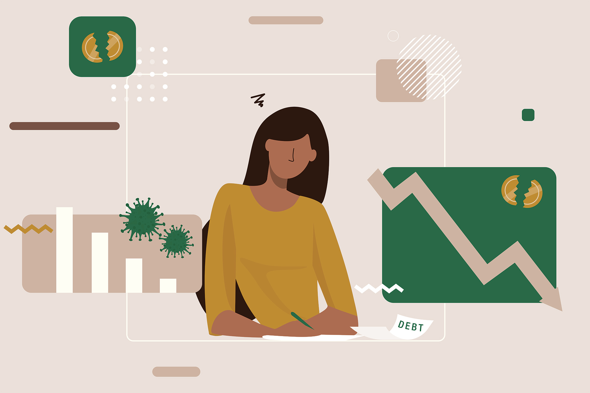 illustration of woman sitting at desk with bills