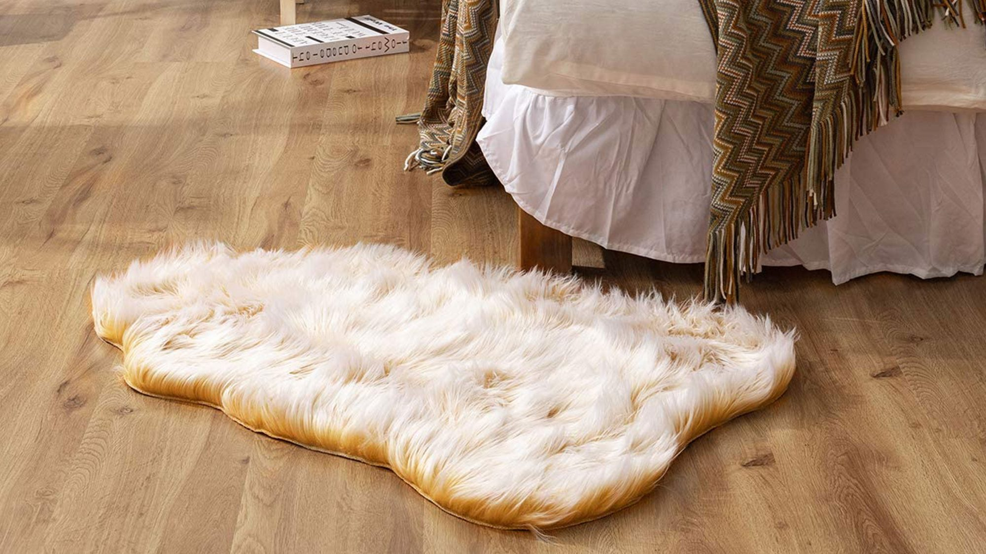 asher soft faux sheepskin rug yellow