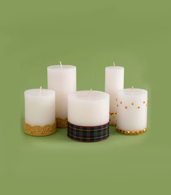 Christmas crafts ideas - Dressed-Up Pillar Candles
