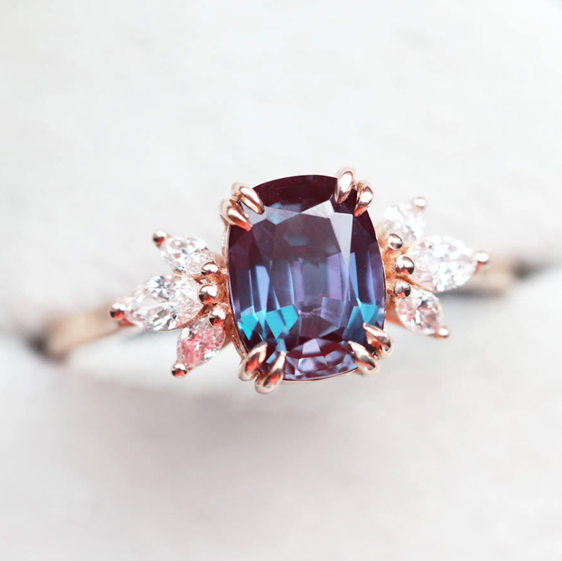 Engagement Ring Trends 2021: Capucinne Alexandrite and diamond engagement ring
