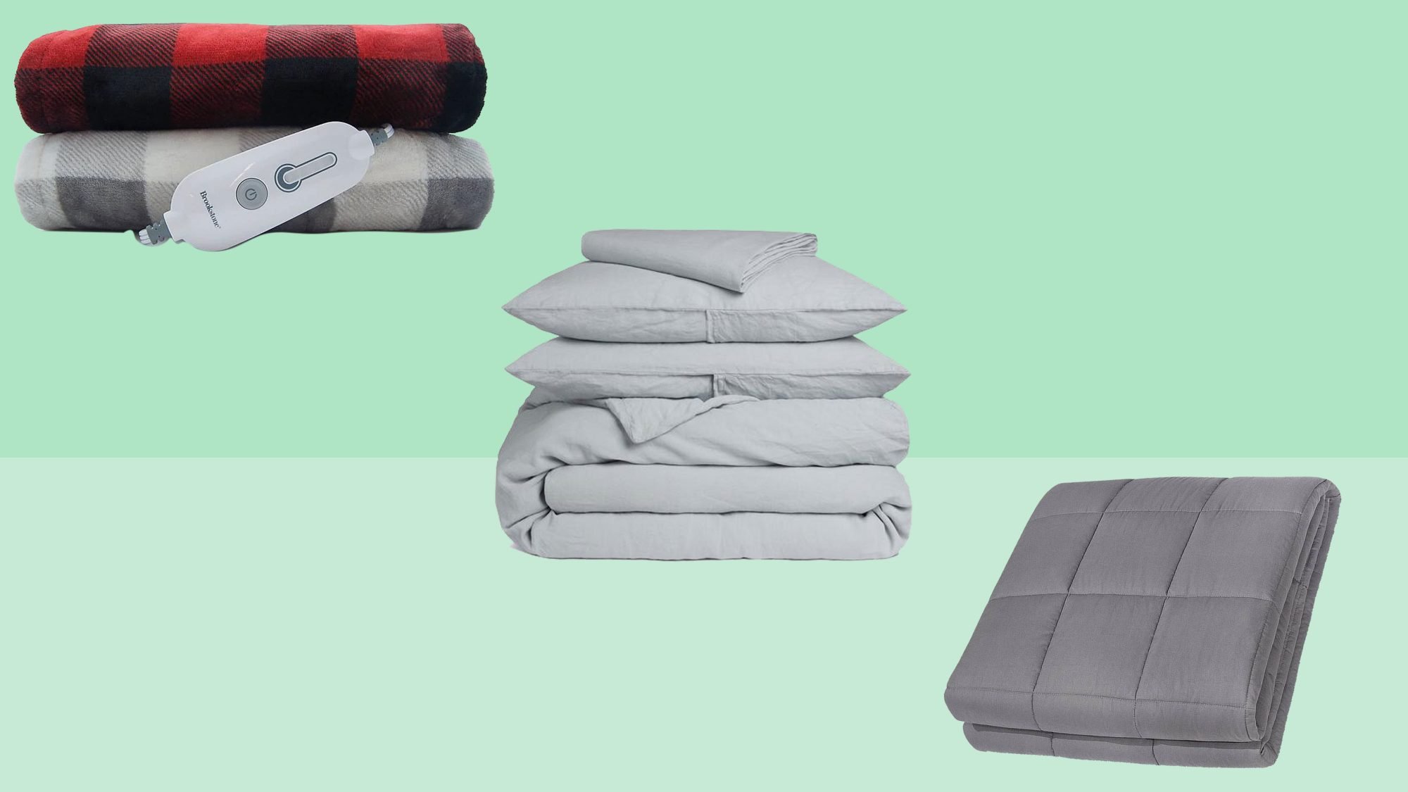 heated flannel blanket, weighted blanket, parachute home sheets