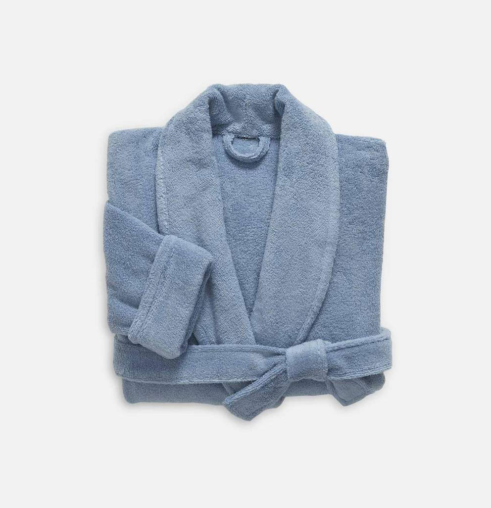 Best gifts for new moms - Brooklinen super plush robe in blue