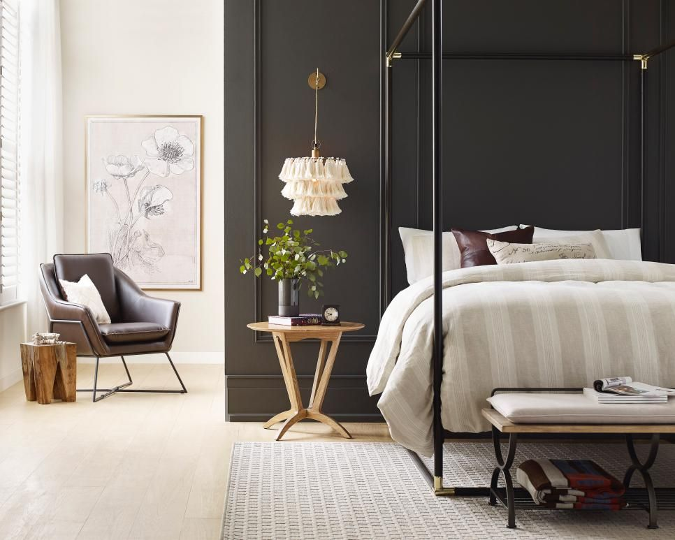 Sherwin Williams Color of the Year 2021, Urbane Bronze paint in bedroom