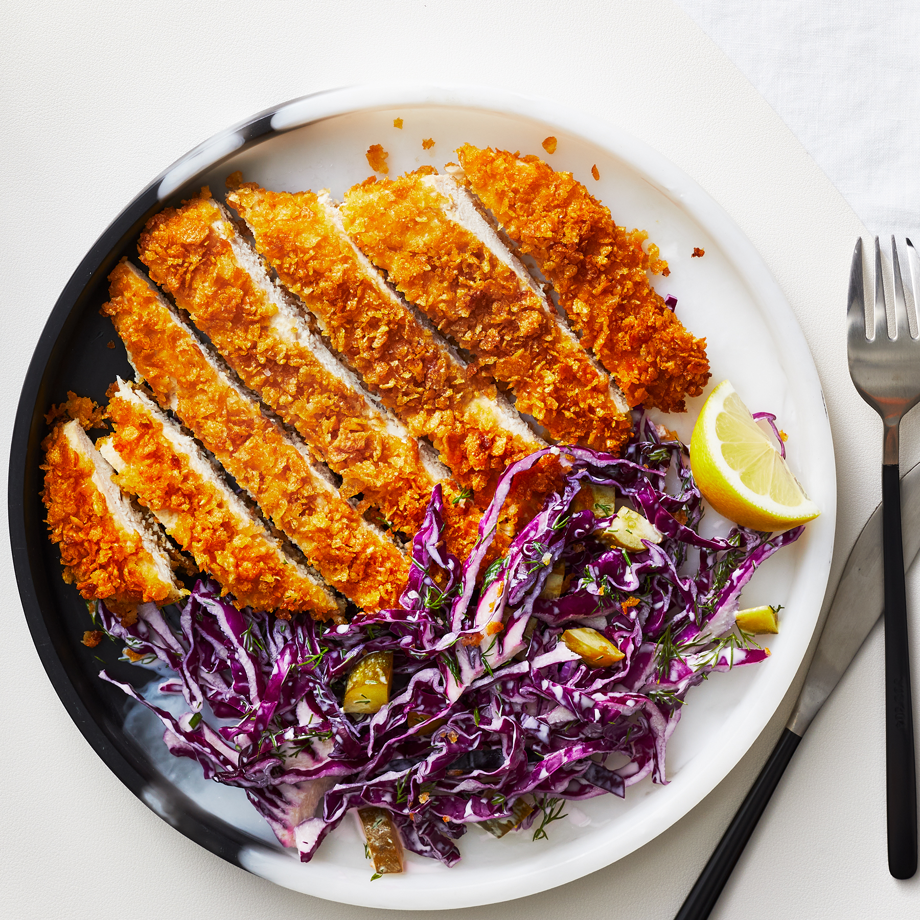 Cornflake-Crusted Chicken with Purple Slaw