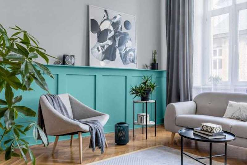 Glidden Color of the Year 2021, Aqua Fiesta paint in living room