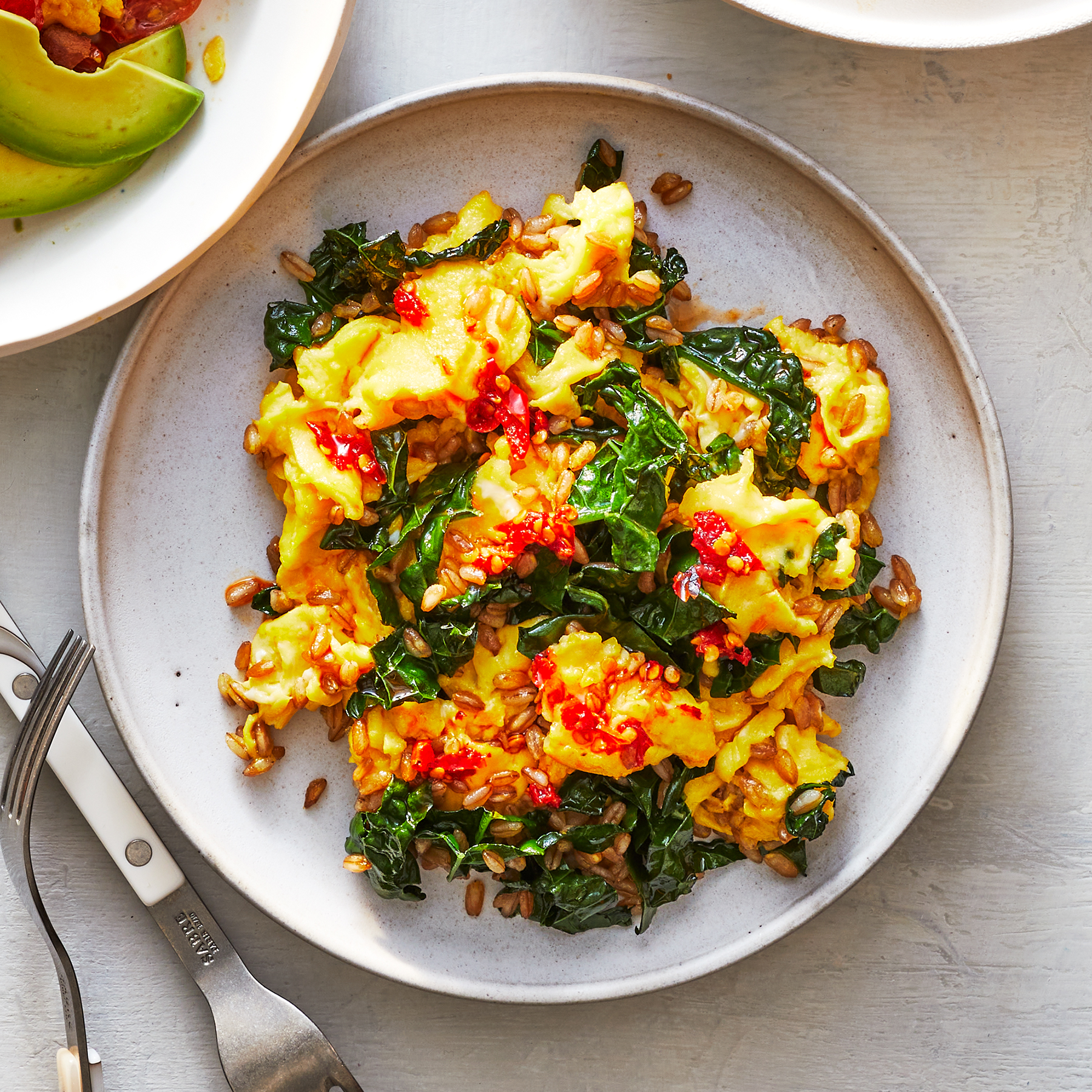 Grains and greens scramble recipe
