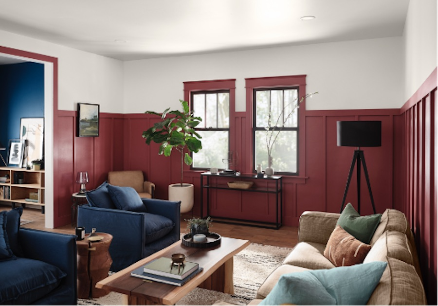 HGTV Home Color of the Year 2021, red paint in living room