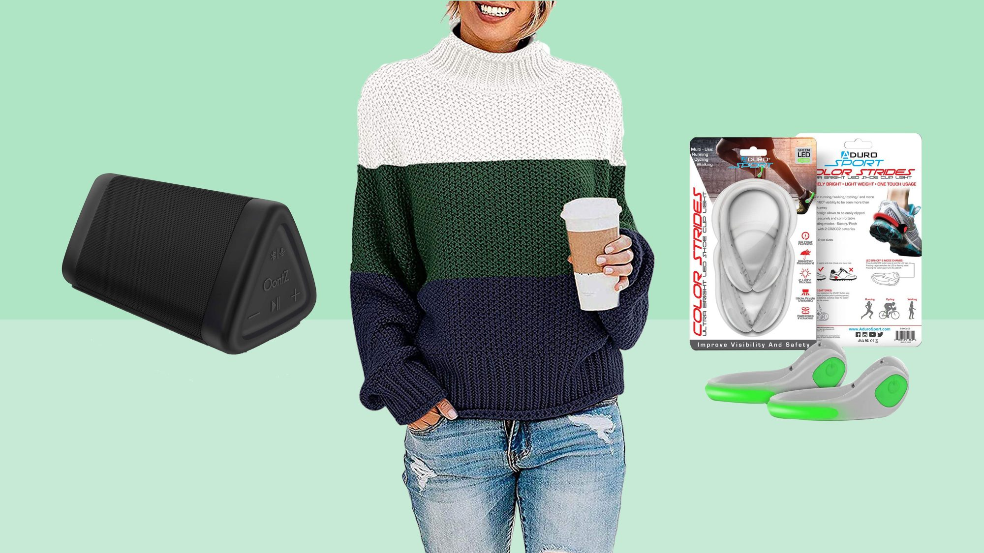 speaker, sweater, shoes