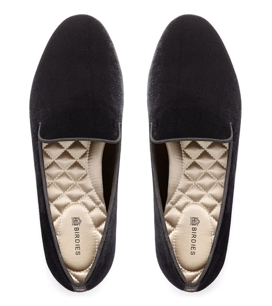 Black Velvet Slippers for Readers
