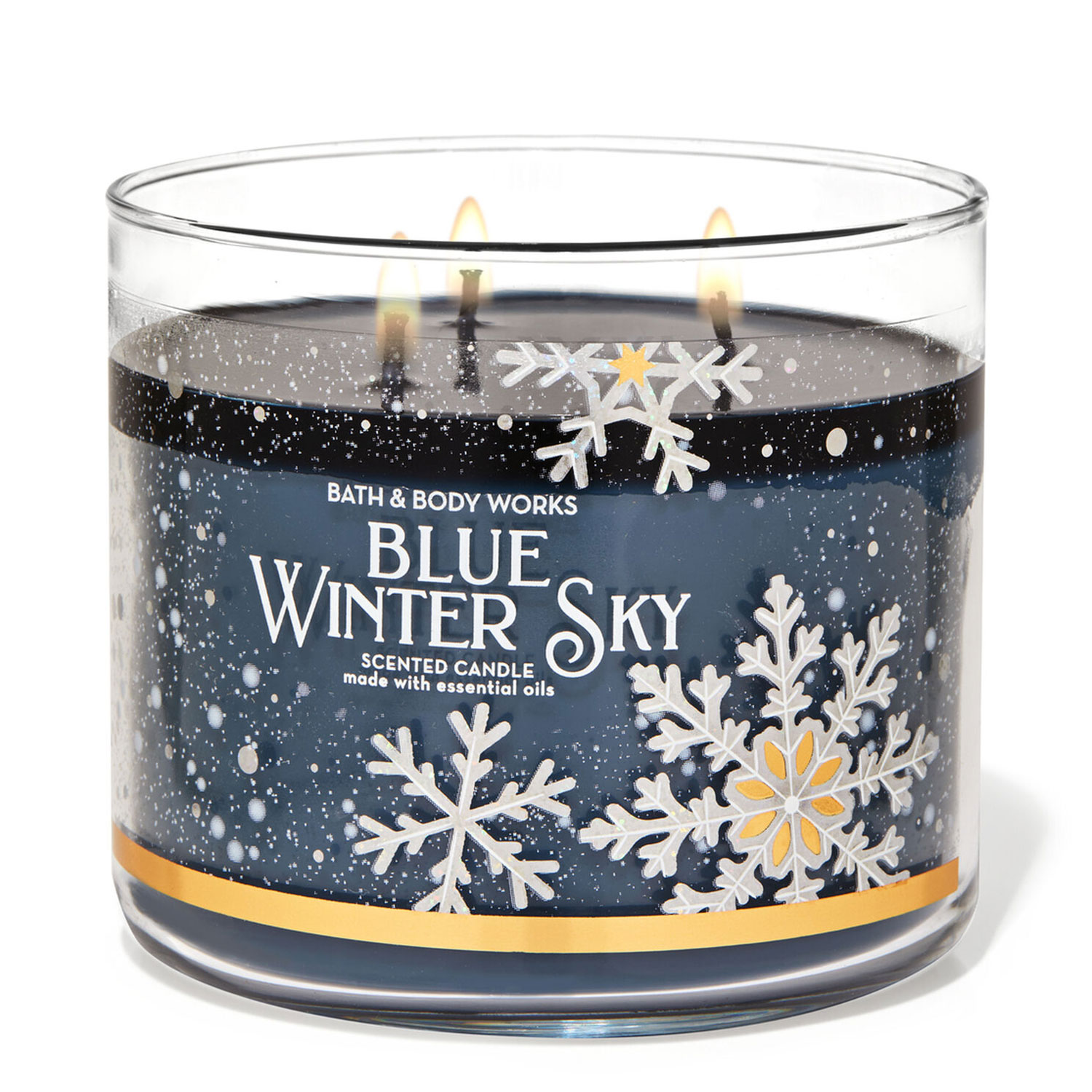blue winter sky candle