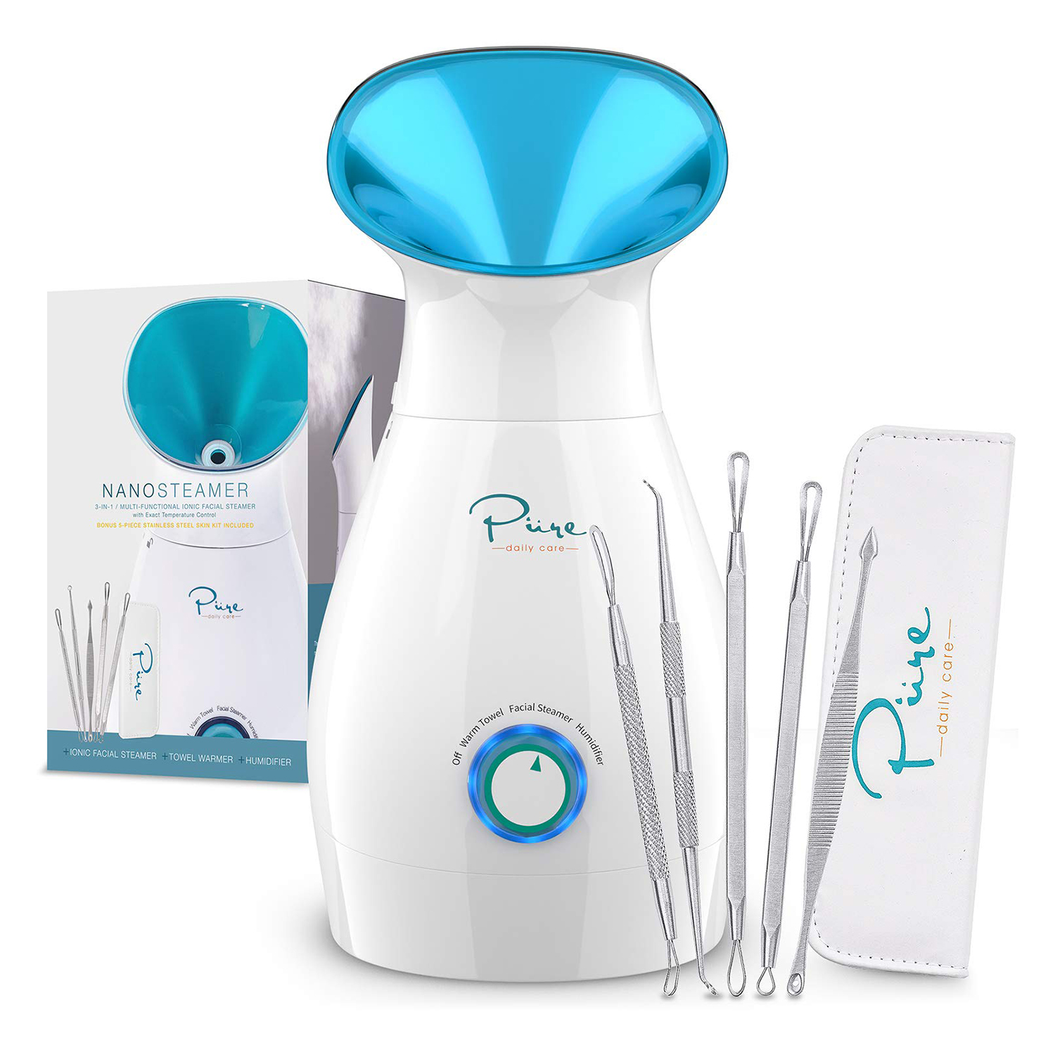 NanoSteamer Large 3-in-1 Nano Ionic Facial Steamer with Precise Temp