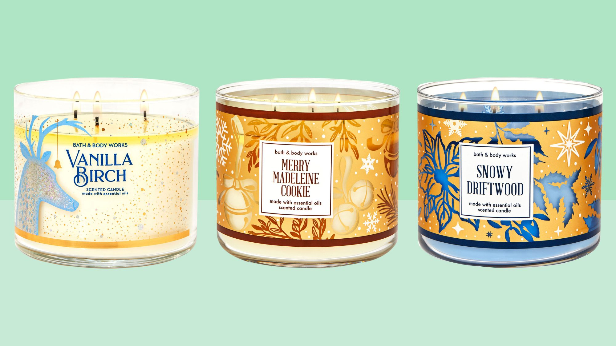 vanilla candle, merry madeline cookie, snowy driftwood