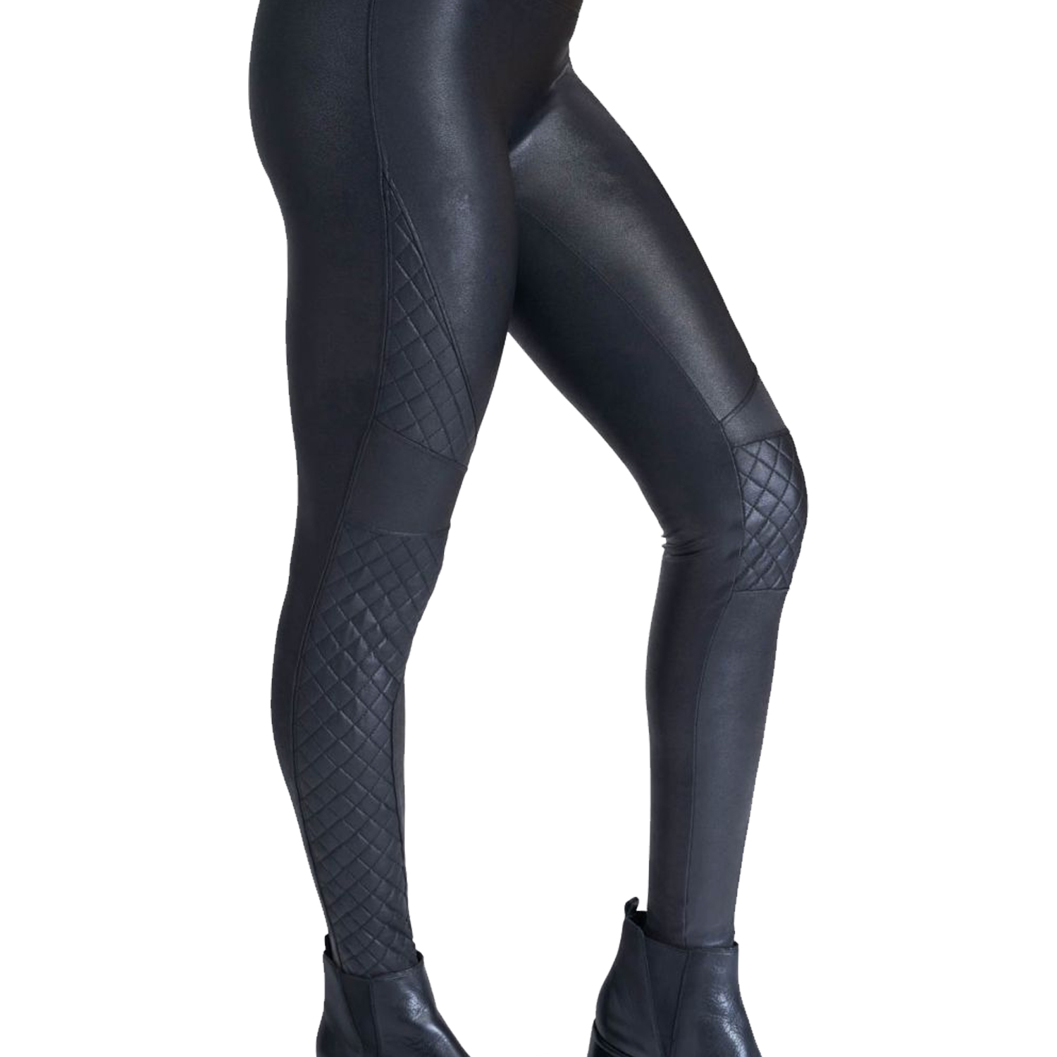 spanx black quilted fax leather leggings