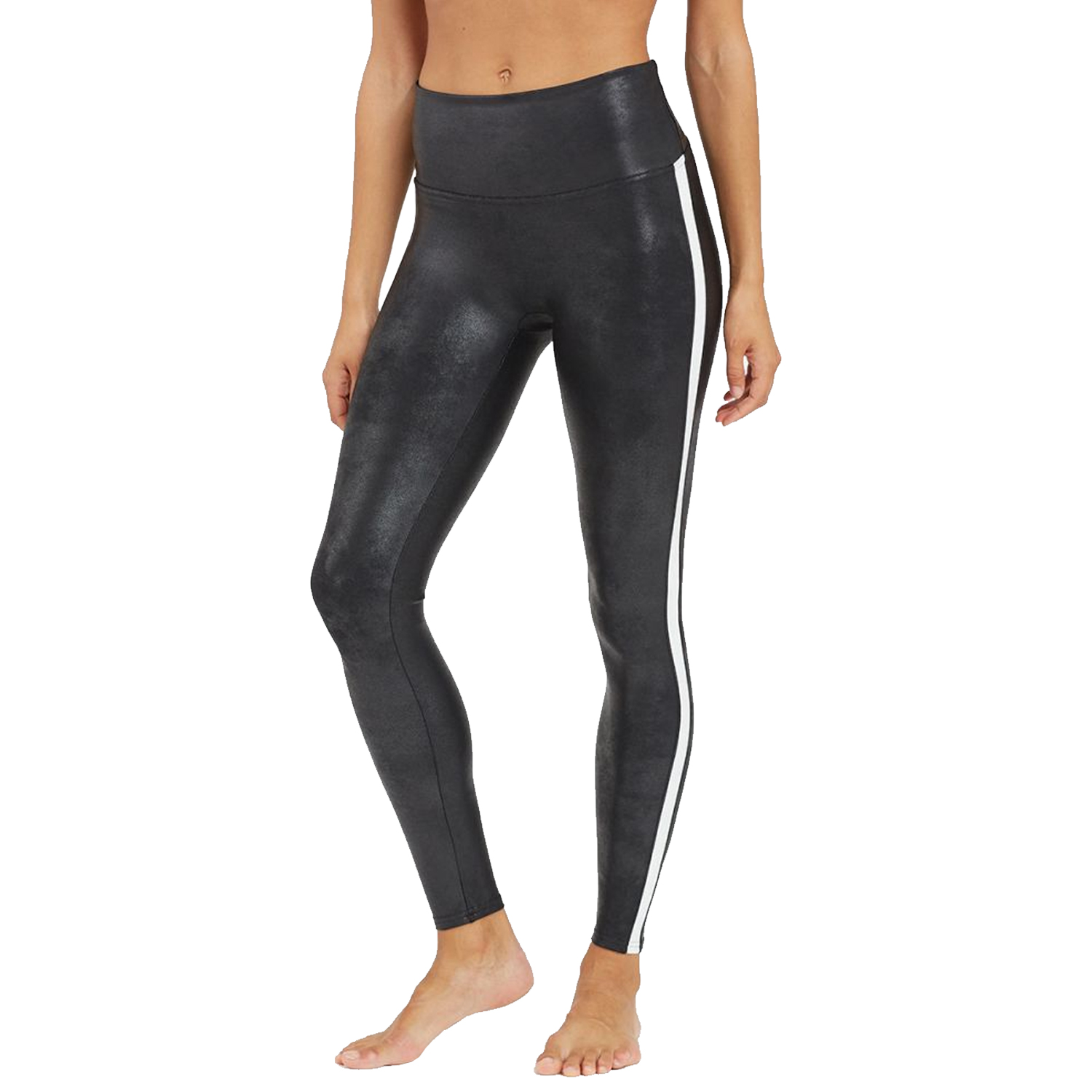 spanx black and white faux leather side stripe leggings