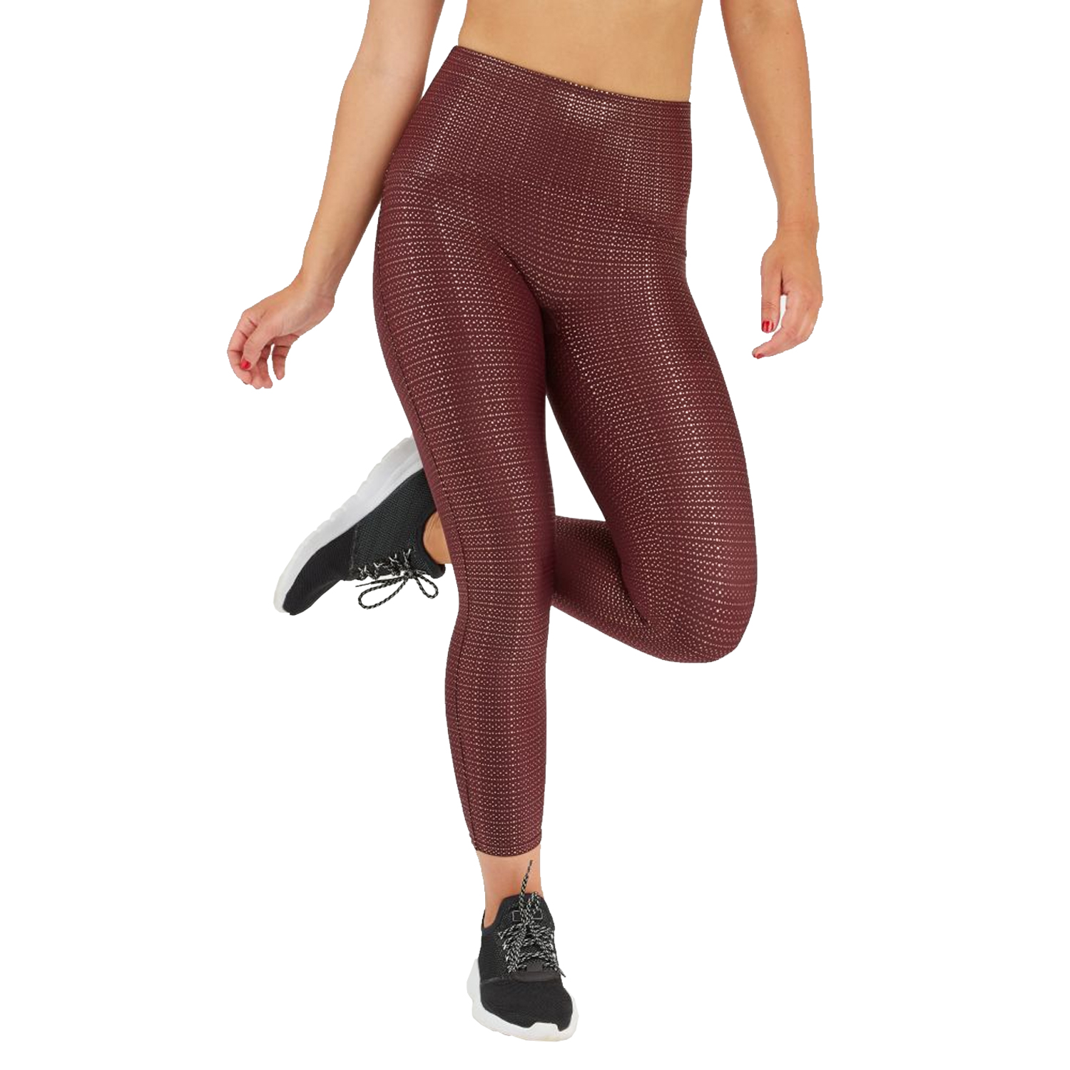 woman wearing wine colored active leggings with booty boost