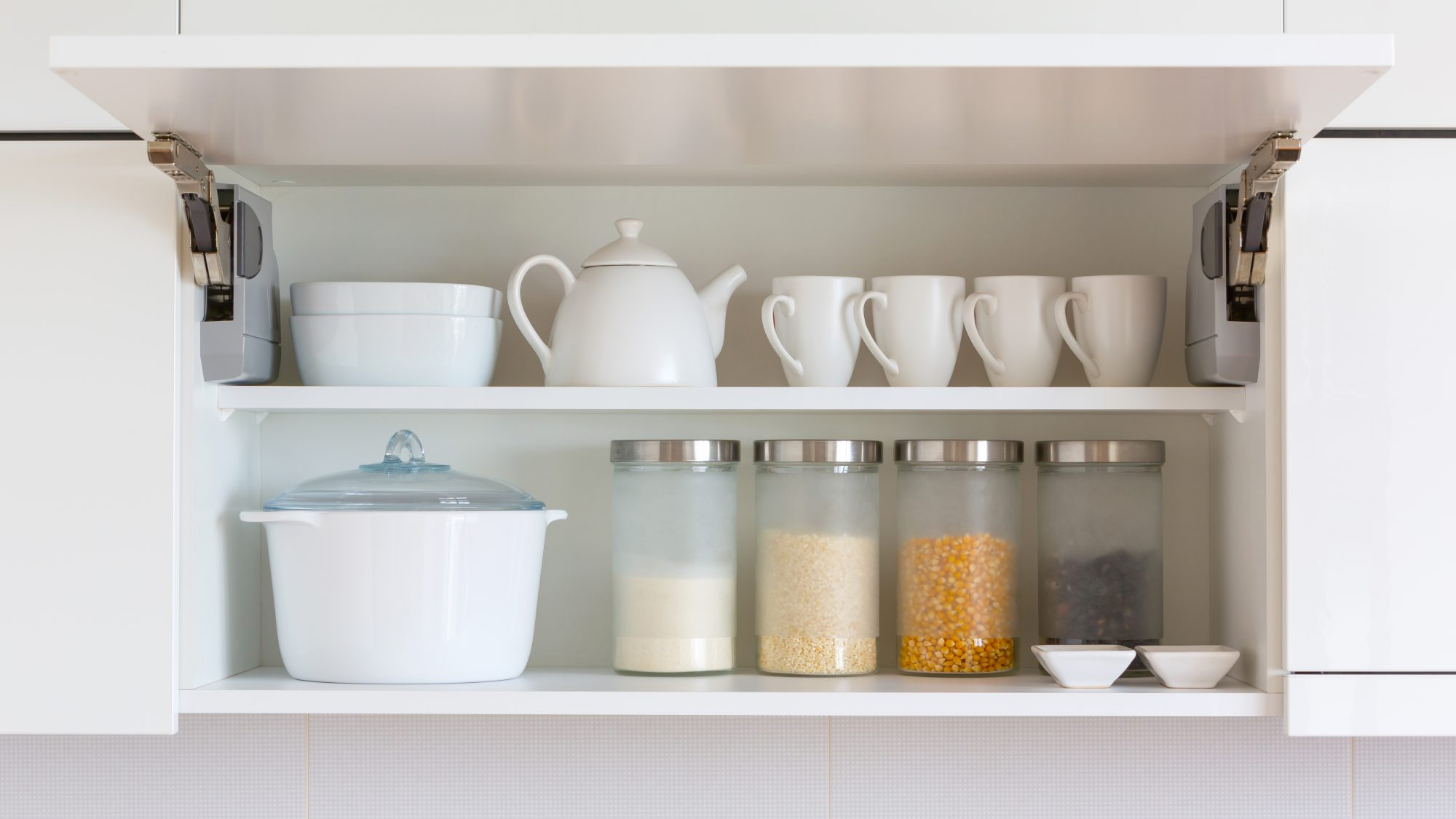 Things to Declutter from Kitchen Cabinets: neatly organized cabinet